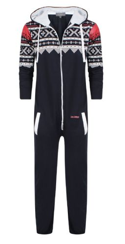 Men's Unisex Aztec Navy Brushed Fleece Zip Up Playsuit Jumpsuit All In One Hooded Onesie